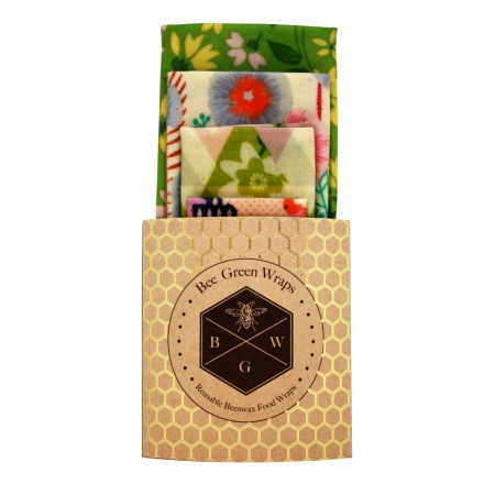 "Bee Green Wraps bivokspapir 4-pk, ""GREEN FLORAL"""