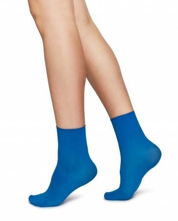 Swedish Stockings sokker, Judith Premium 30 denier - SHARP BLUE/CREME 2-pk