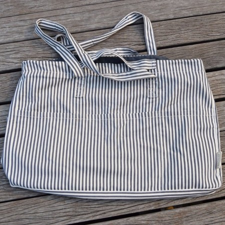 Strandbag / weekend bag i gjenbrukt bomull, striper